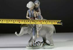Rare Lladro Hindu Children on Elephant 5352 Porcelain Figurine