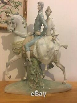 Rare Lladro Large Figurine of a Couple on Horse Lladro Equestrian Figurine