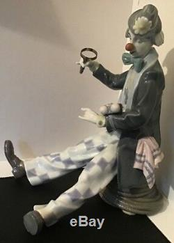Rare Llarge Lladro #5762 Checking The Time Clown Seated Looking At His Watch