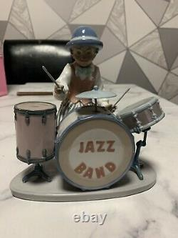Rare Retired Lladro Jazz Drums Drummer 05929 A/f Replacement Wooden Drumsticks
