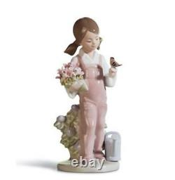 SALE 20% Off Lladro Spring Girl with Bird & Flowers Porcelain Figurine