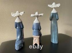 Set of 3 Lladro Figurines Nuns including retired. Great condition see note