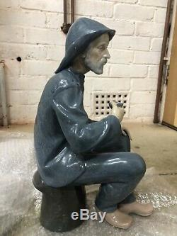 Very Large NAO Figure of a Seated Fisherman Sailor Smoking a Pipe Lladro