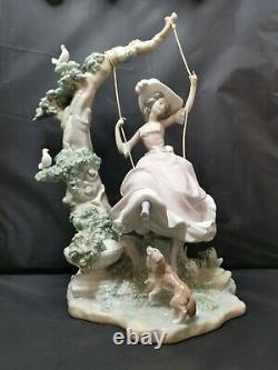 Vintage Large Lladro Figurine Victorian Girl On Swing P1022 1