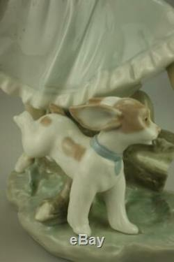 Vintage Lladro #4920 Country Lass with Dog or Mirth in the Country Figurine